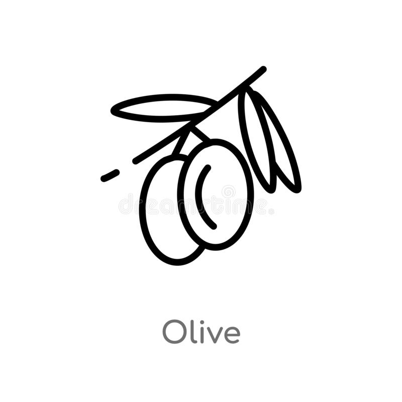 outline olive vector icon. isolated black simple line element illustration from fruits concept. editable vector stroke olive icon royalty free illustration