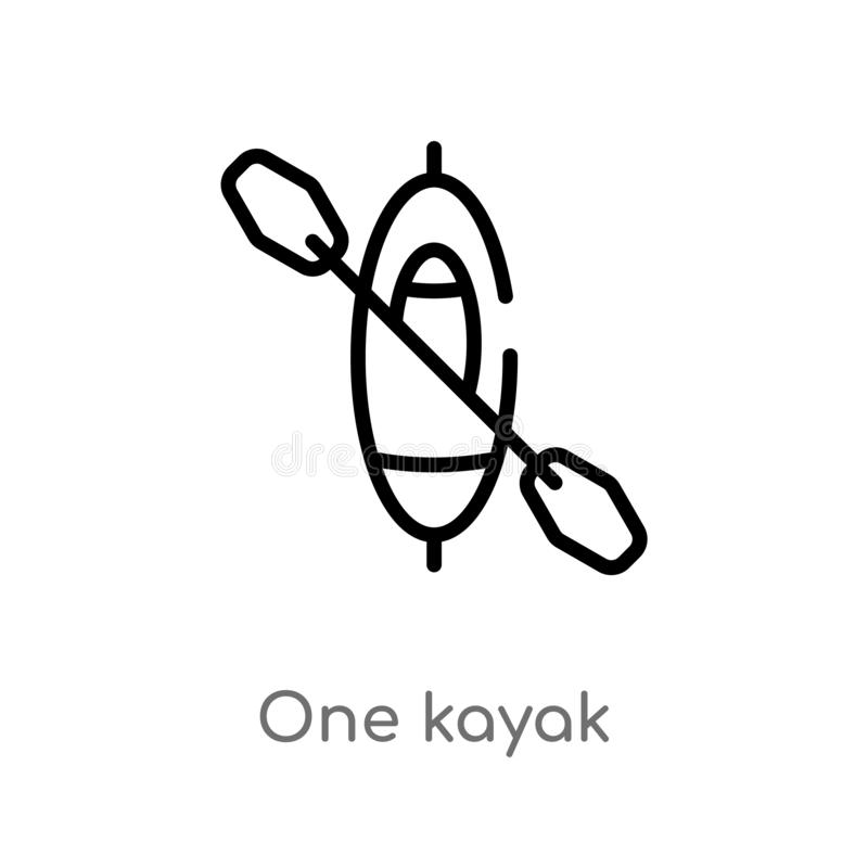 outline one kayak vector icon. isolated black simple line element illustration from nautical concept. editable vector stroke one stock illustration