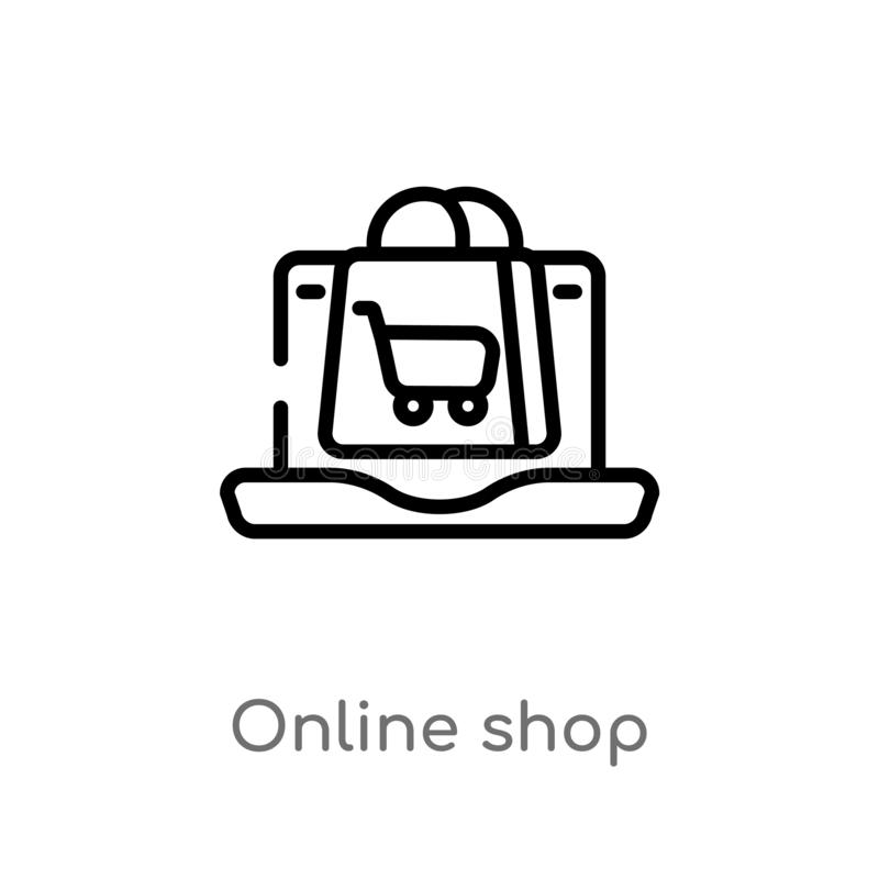 outline online shop vector icon. isolated black simple line element illustration from digital economy concept. editable vector royalty free illustration