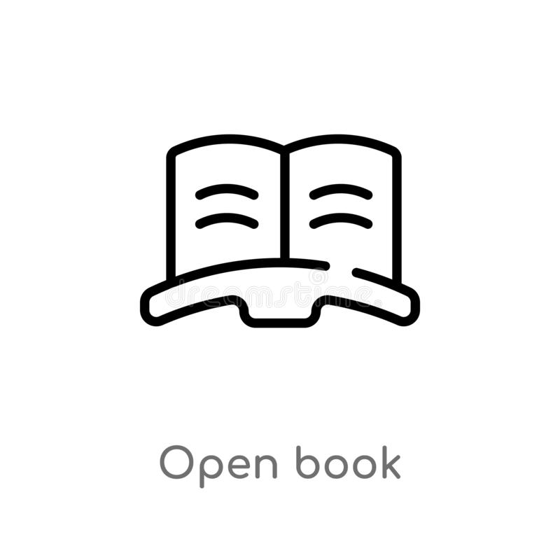 Outline open book vector icon. isolated black simple line element illustration from customer service concept. editable vector. Stroke open book icon on white vector illustration