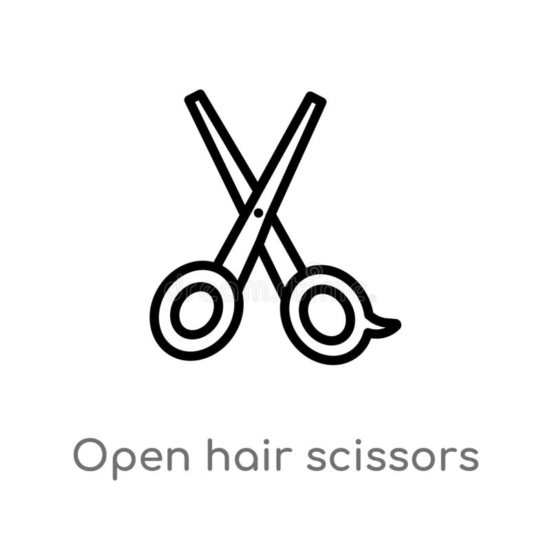 outline open hair scissors vector icon. isolated black simple line element illustration from beauty concept. editable vector stock illustration