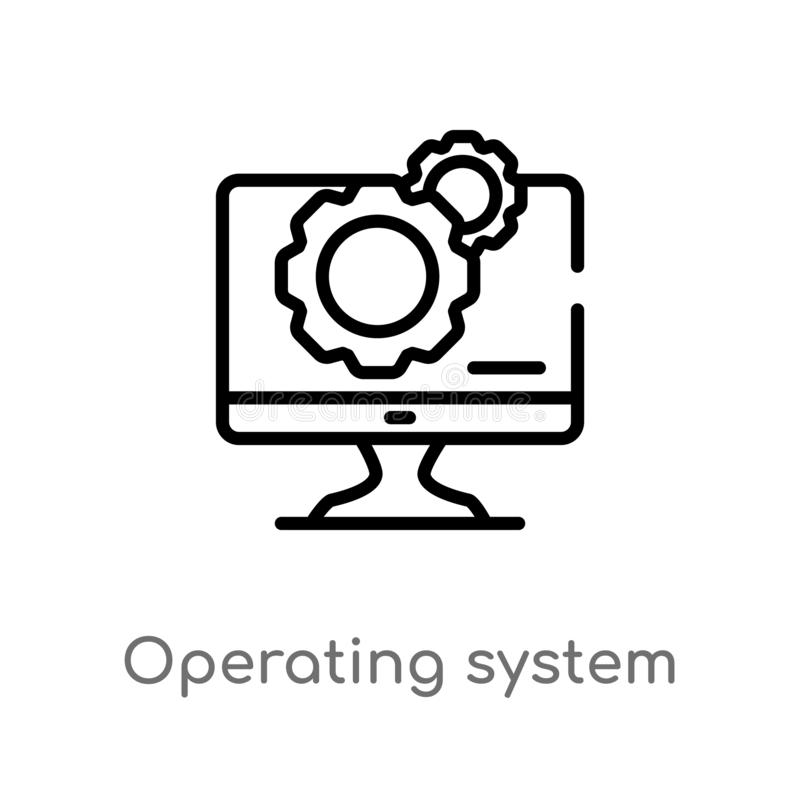 Outline operating system vector icon. isolated black simple line element illustration from electronic devices concept. editable. Vector stroke operating system vector illustration