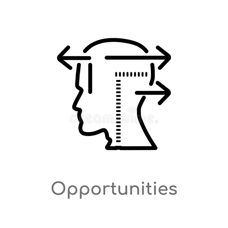 Outline opportunities vector icon. isolated black simple line element illustration from brain process concept. editable vector. Stroke opportunities icon on stock illustration