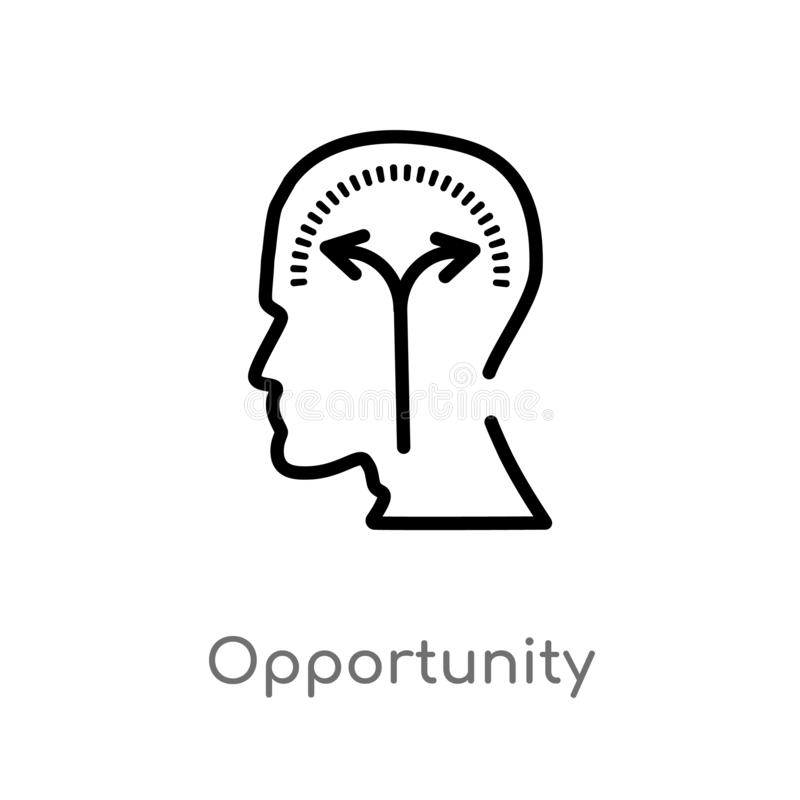Outline opportunity vector icon. isolated black simple line element illustration from brain process concept. editable vector. Stroke opportunity icon on white stock illustration
