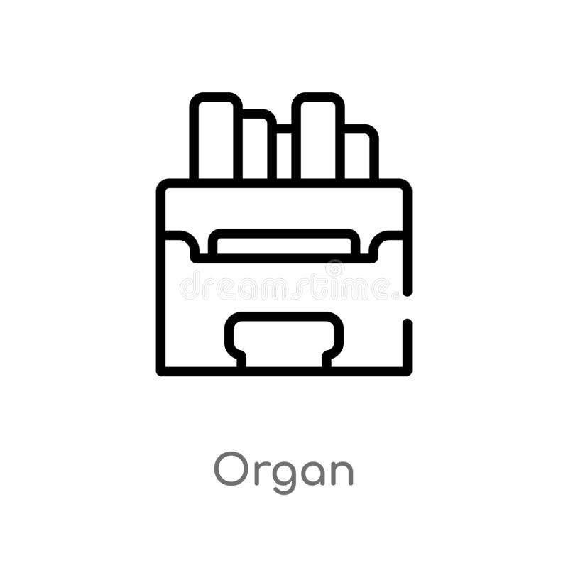 outline organ vector icon. isolated black simple line element illustration from music concept. editable vector stroke organ icon vector illustration