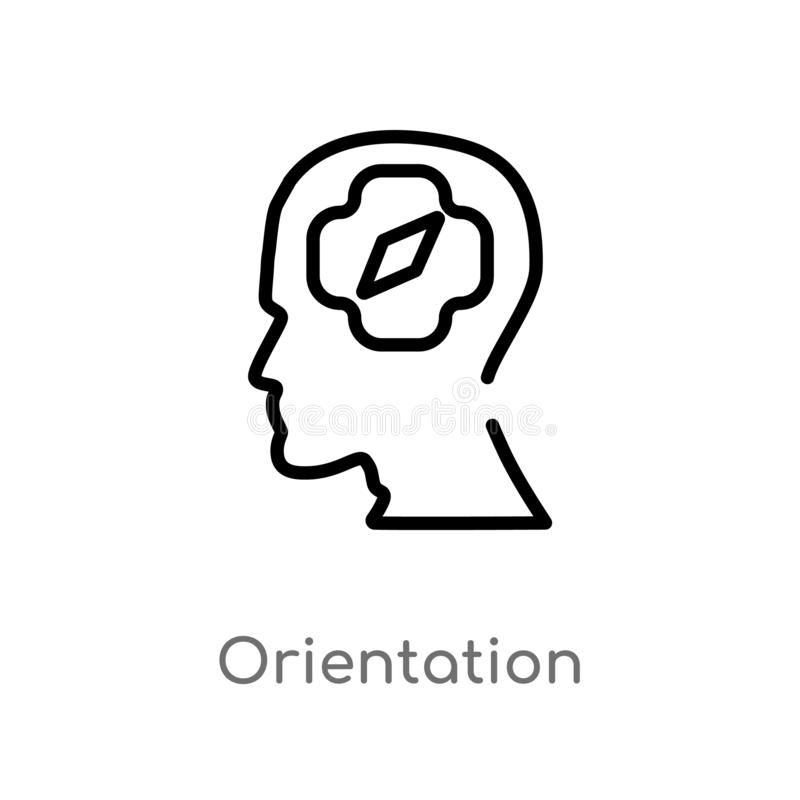Outline orientation vector icon. isolated black simple line element illustration from brain process concept. editable vector. Stroke orientation icon on white stock illustration