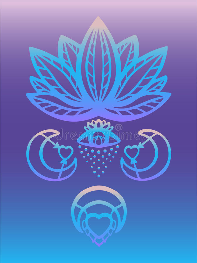 Outline ornate lotus flower vector with alchemy eye, moon and heart esoteric symbols, Hand drawn beautiful lotus on blue and purpl royalty free illustration