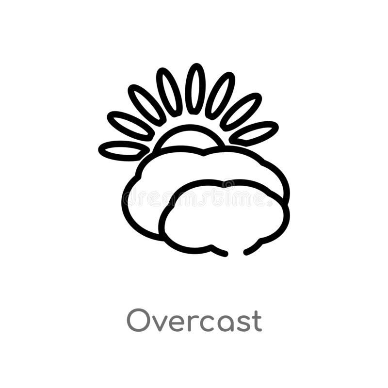 Outline overcast vector icon. isolated black simple line element illustration from meteorology concept. editable vector stroke. Overcast icon on white vector illustration