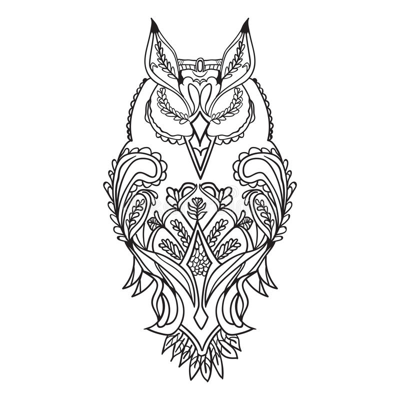 The Outline Of The Owl Is Black With Patterns For Drawing Stock
