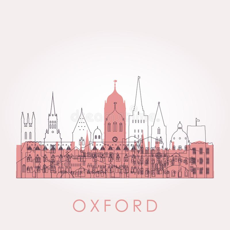 Outline Oxford skyline with landmarks. Vector illustration. Business travel and tourism concept with historic buildings. Image for presentation, banner royalty free illustration