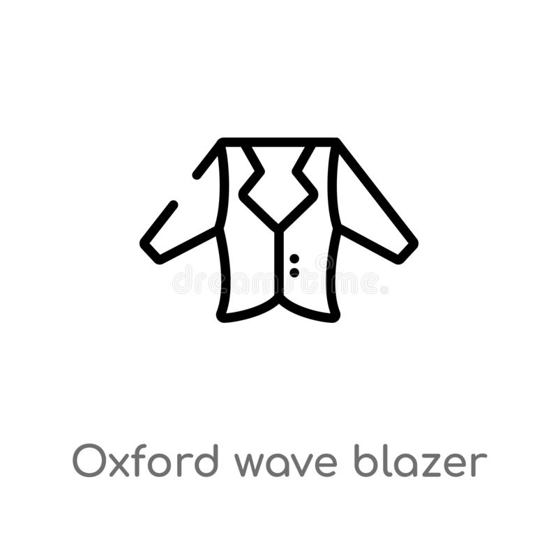 Outline oxford wave blazer vector icon. isolated black simple line element illustration from clothes concept. editable vector. Stroke oxford wave blazer icon on royalty free illustration