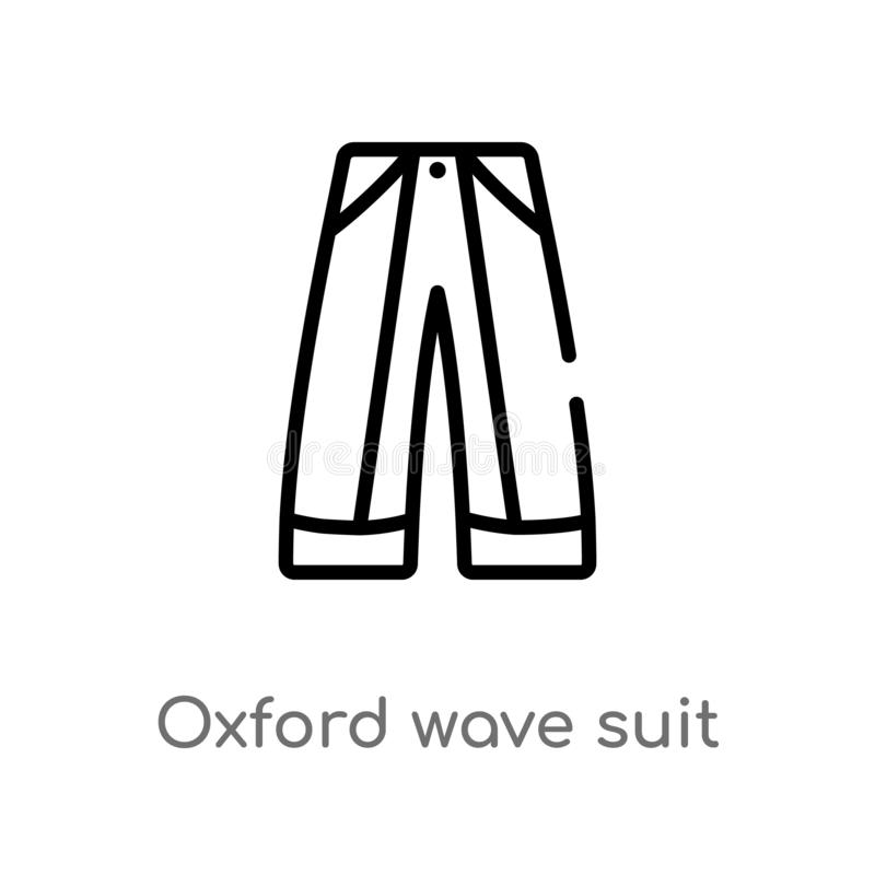 Outline oxford wave suit pants vector icon. isolated black simple line element illustration from clothes concept. editable vector. Stroke oxford wave suit pants royalty free illustration