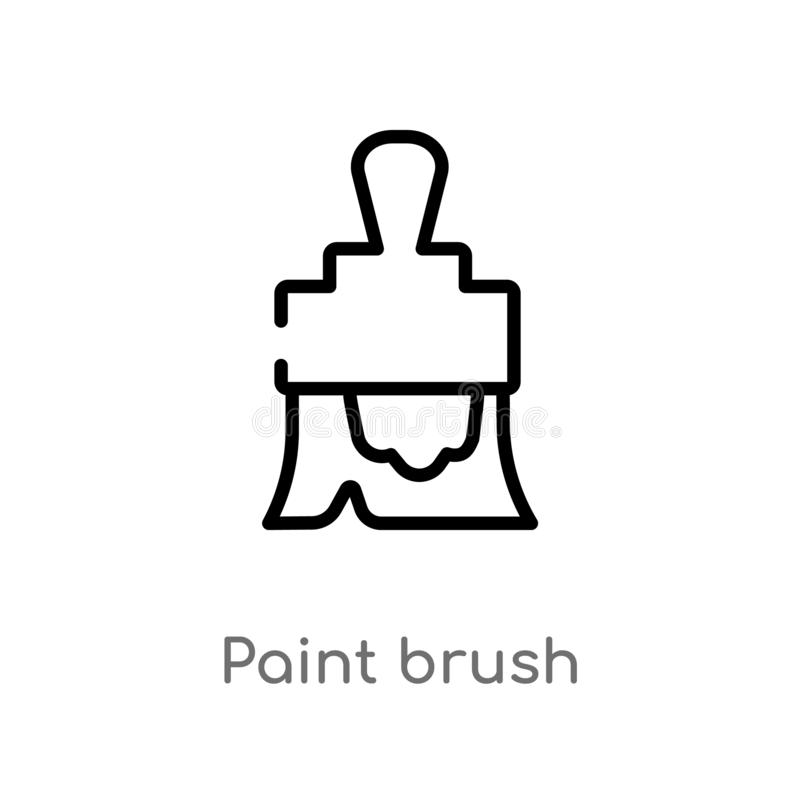 outline paint brush vector icon. isolated black simple line element illustration from construction tools concept. editable vector stock illustration