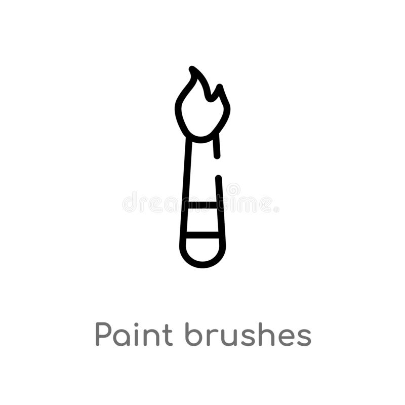 outline paint brushes vector icon. isolated black simple line element illustration from art concept. editable vector stroke paint vector illustration