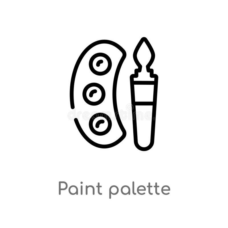 outline paint palette vector icon. isolated black simple line element illustration from education 2 concept. editable vector stock illustration