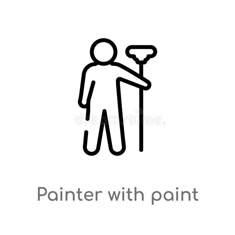 outline painter with paint roller vector icon. isolated black simple line element illustration from humans concept. editable vector illustration