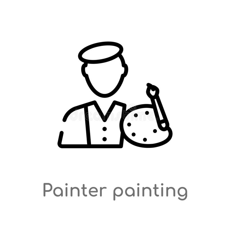 Outline painter painting vector icon. isolated black simple line element illustration from art concept. editable vector stroke. Painter painting icon on white royalty free illustration