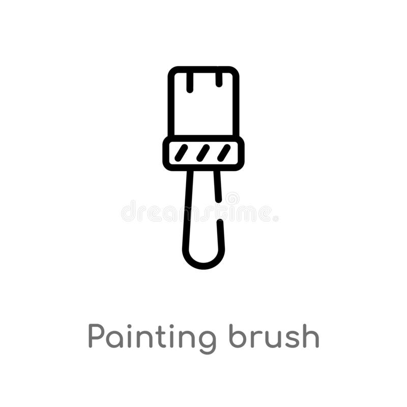 Outline painting brush vector icon. isolated black simple line element illustration from art concept. editable vector stroke. Painting brush icon on white stock illustration