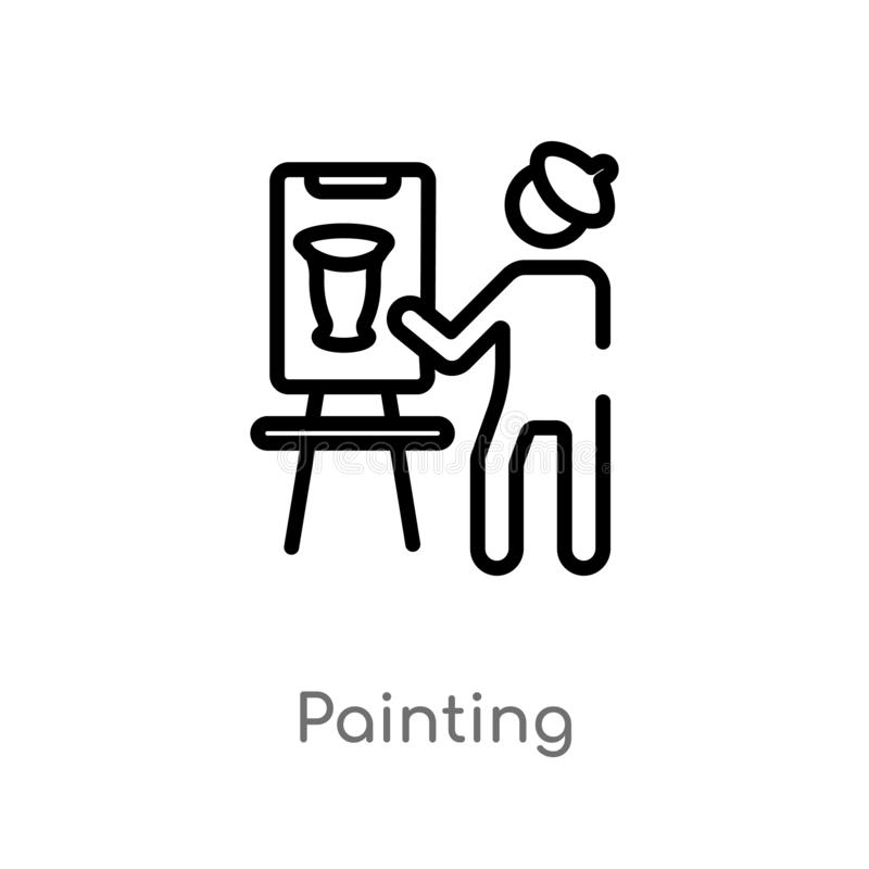 Outline painting vector icon. isolated black simple line element illustration from museum concept. editable vector stroke painting. Icon on white background stock illustration