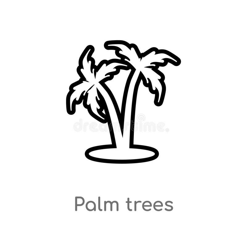 outline palm trees vector icon. isolated black simple line element illustration from holidays concept. editable vector stroke palm stock illustration