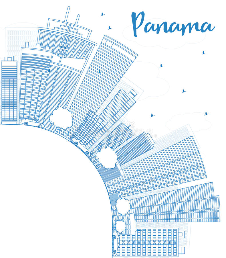 Outline Panama City skyline with blue skyscrapers and copy space royalty free illustration