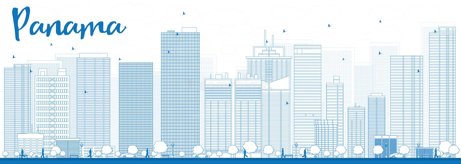 Outline Panama City skyline with blue skyscrapers stock illustration