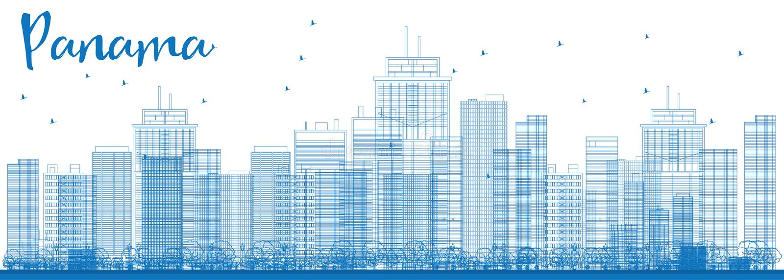 Outline Panama City skyline with blue skyscrapers. stock illustration
