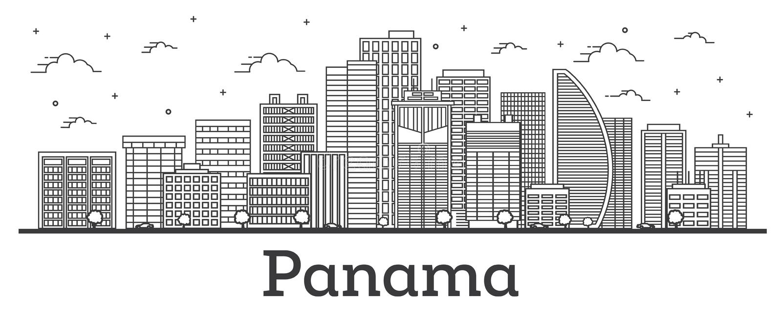 Outline Panama City Skyline with Modern Buildings Isolated on White vector illustration