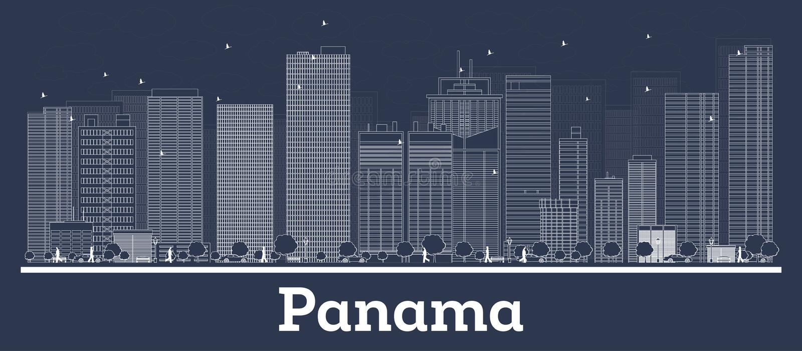 Outline Panama City Skyline with White Buildings stock illustration