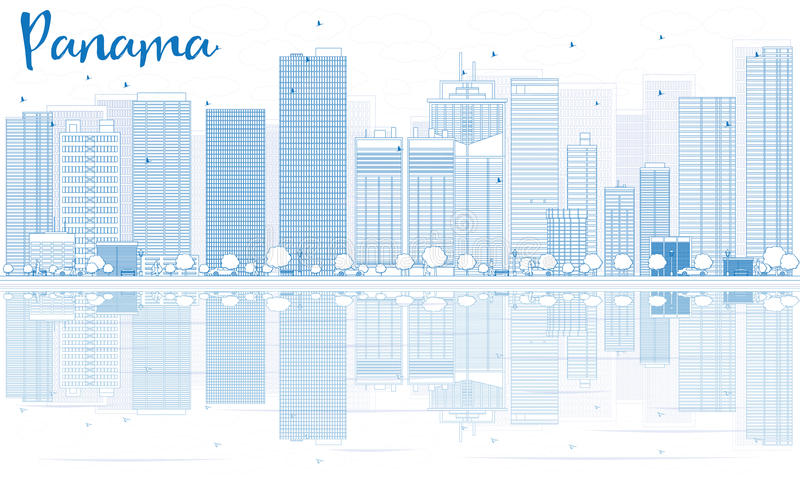 Outline Panama skyline with blue buildings and reflections. royalty free illustration
