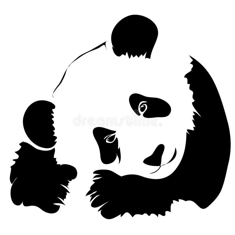 Outline panda vector illustration. stock illustration