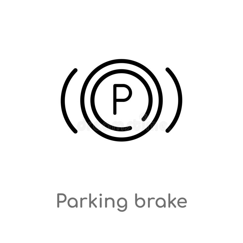 Outline parking brake vector icon. isolated black simple line element illustration from signaling concept. editable vector stroke. Parking brake icon on white royalty free illustration