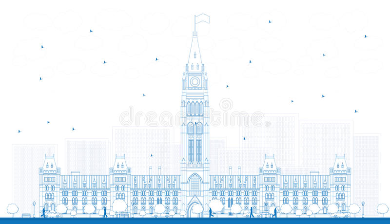 Outline Parliament Building in Ottawa, Canada. Vector illustration. Business Travel and Tourism Concept with Historic Building. Image for Presentation Banner royalty free illustration