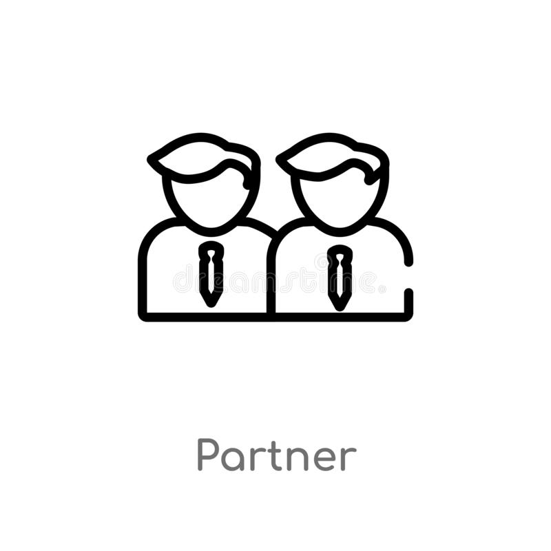 outline partner vector icon. isolated black simple line element illustration from strategy concept. editable vector stroke partner stock illustration