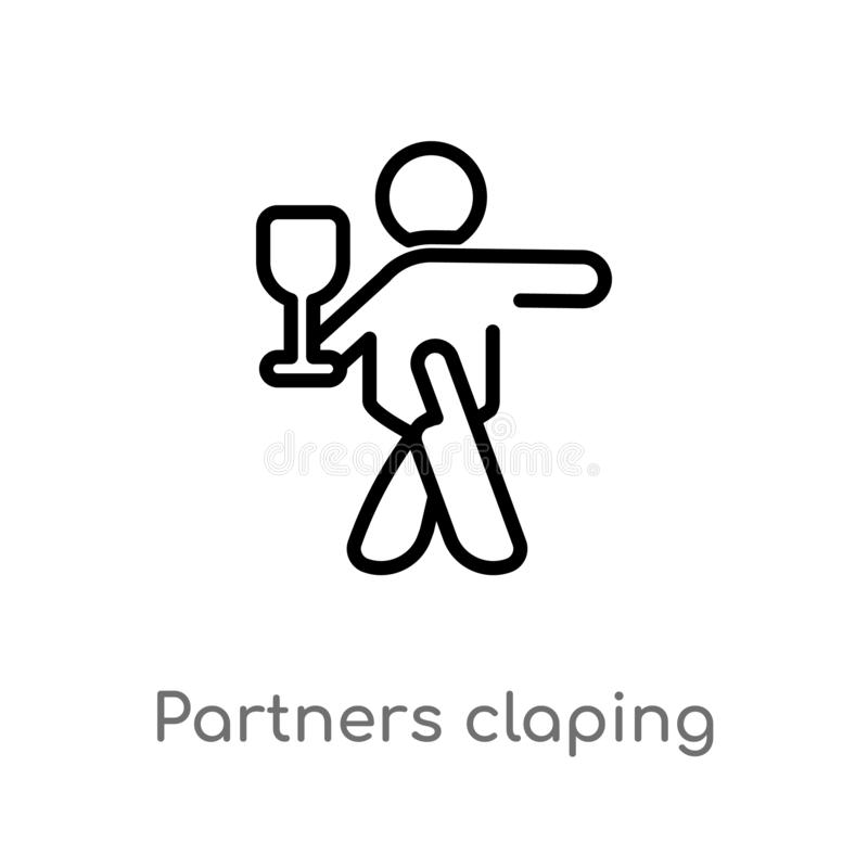 outline partners claping hands vector icon. isolated black simple line element illustration from people concept. editable vector vector illustration