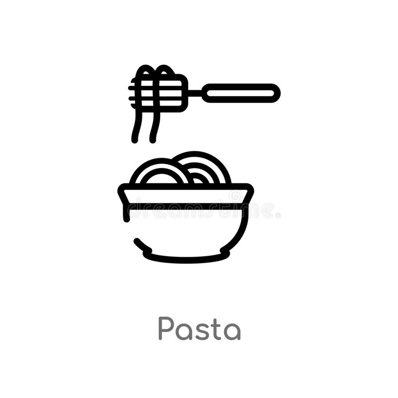 Outline pasta vector icon. isolated black simple line element illustration from food concept. editable vector stroke pasta icon on. White background stock illustration