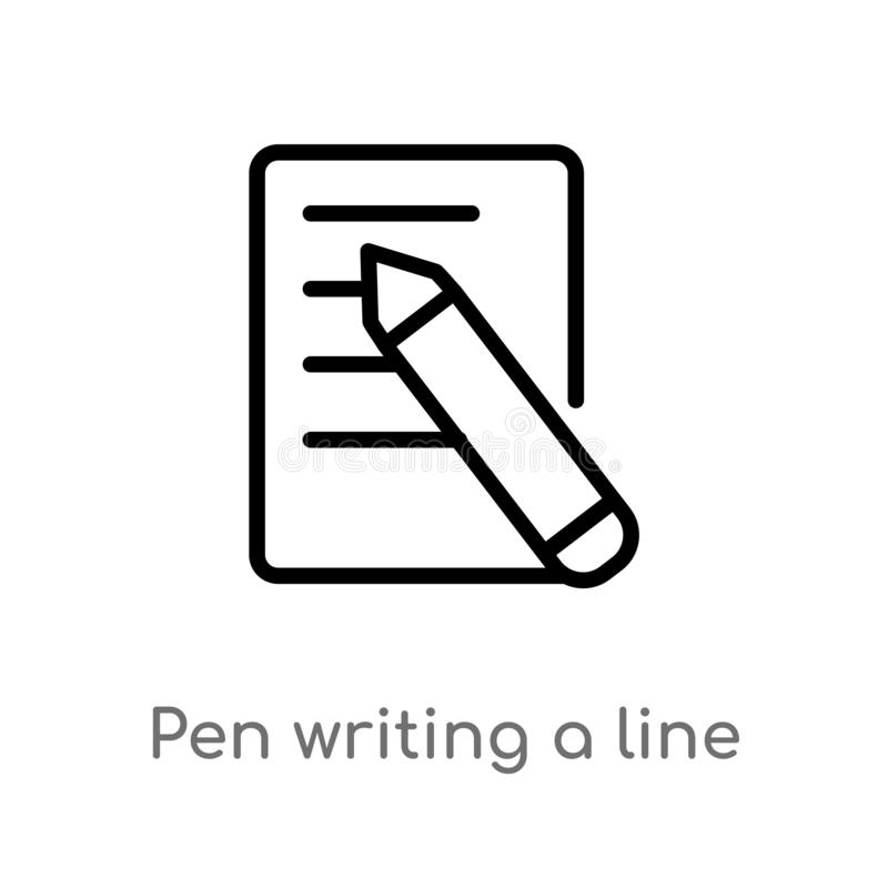 outline pen writing a line vector icon. isolated black simple line element illustration from user interface concept. editable royalty free illustration