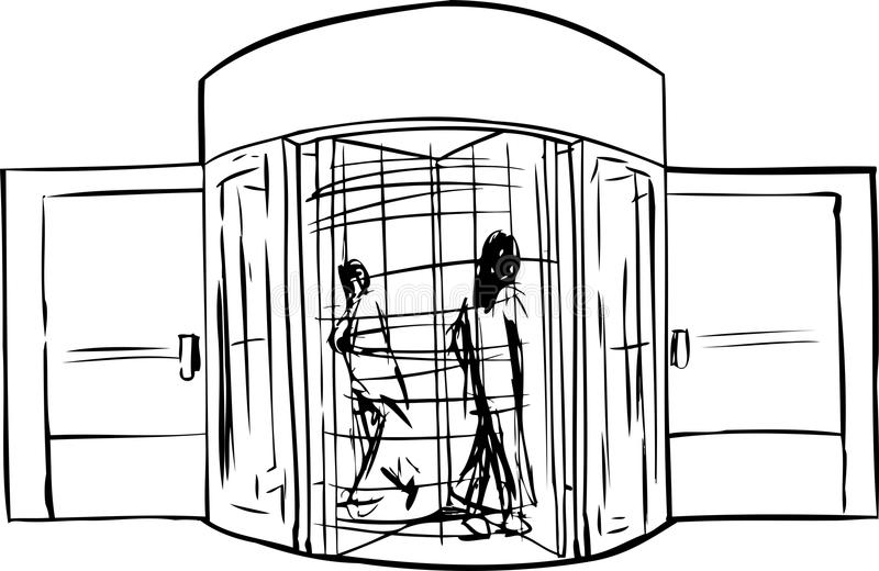 Outline of People in Revolving Doorway stock illustration