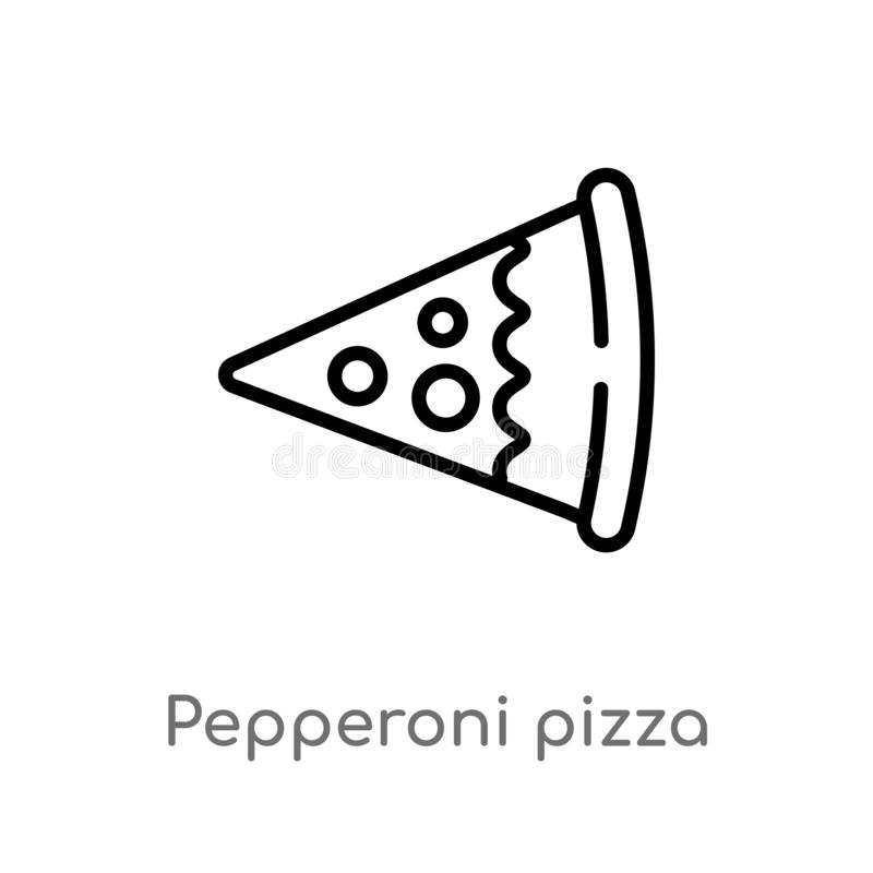 outline pepperoni pizza slice vector icon. isolated black simple line element illustration from bistro and restaurant concept. stock illustration