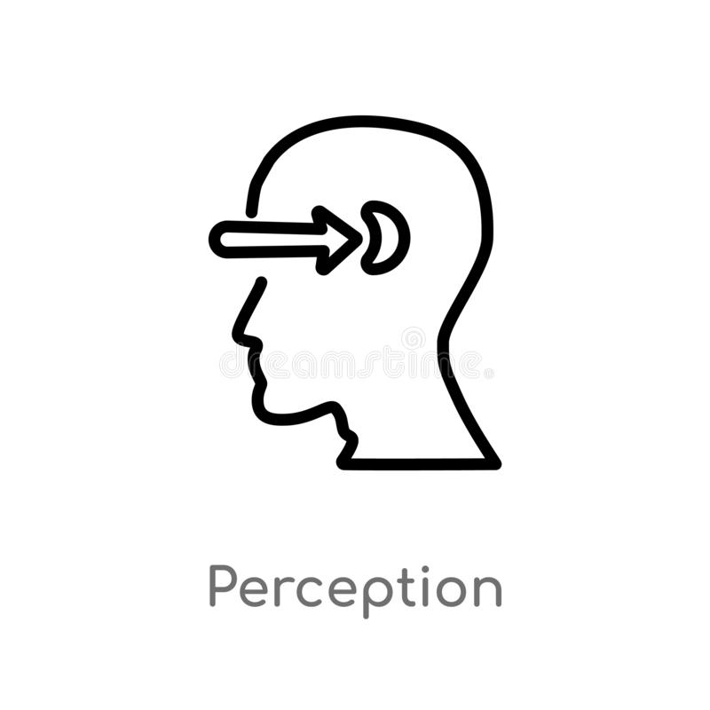 Outline perception vector icon. isolated black simple line element illustration from brain process concept. editable vector stroke. Perception icon on white vector illustration