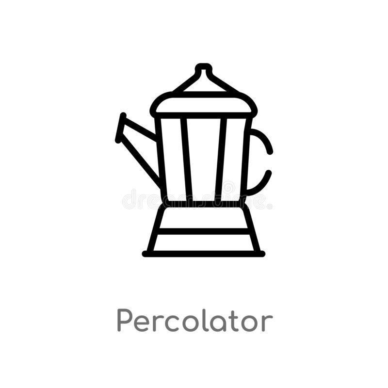 Outline percolator vector icon. isolated black simple line element illustration from electronic devices concept. editable vector. Stroke percolator icon on royalty free illustration