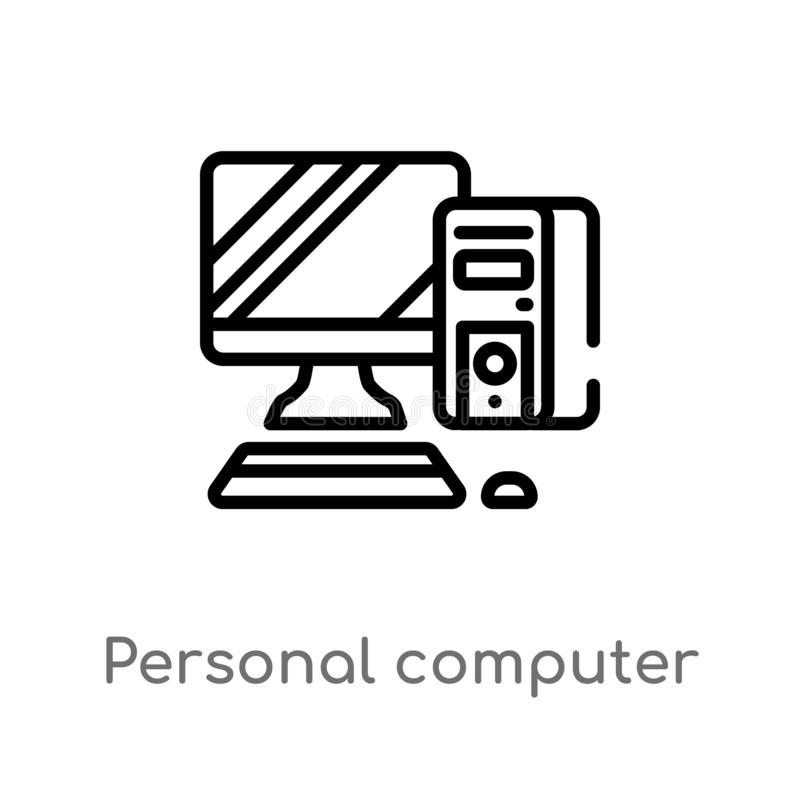 Outline personal computer vector icon. isolated black simple line element illustration from electronic devices concept. editable. Vector stroke personal stock illustration