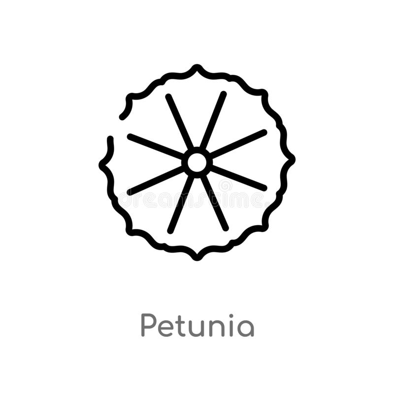 outline petunia vector icon. isolated black simple line element illustration from nature concept. editable vector stroke petunia stock illustration
