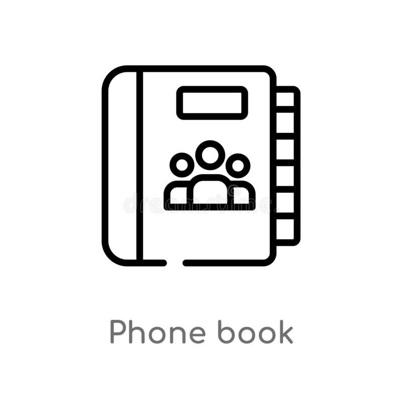 Outline phone book vector icon. isolated black simple line element illustration from content concept. editable vector stroke phone. Book icon on white vector illustration