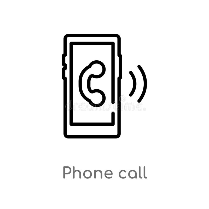 Outline phone call vector icon. isolated black simple line element illustration from customer service concept. editable vector. Stroke phone call icon on white vector illustration