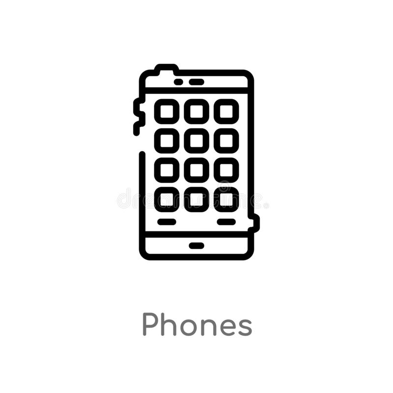 Outline phones vector icon. isolated black simple line element illustration from electronic devices concept. editable vector. Stroke phones icon on white stock illustration