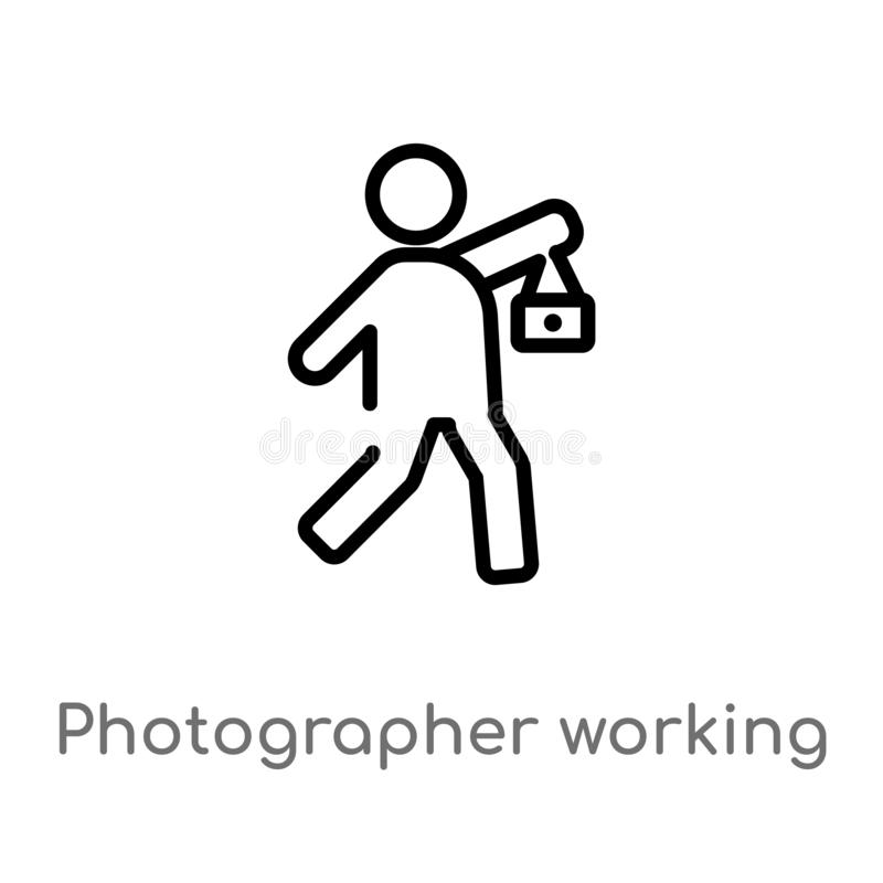 Outline photographer working vector icon. isolated black simple line element illustration from people concept. editable vector. Stroke photographer working icon stock illustration