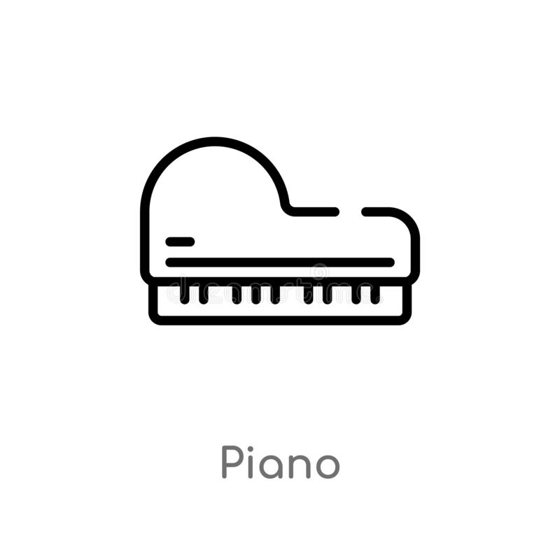 outline piano vector icon. isolated black simple line element illustration from wild west concept. editable vector stroke piano stock illustration