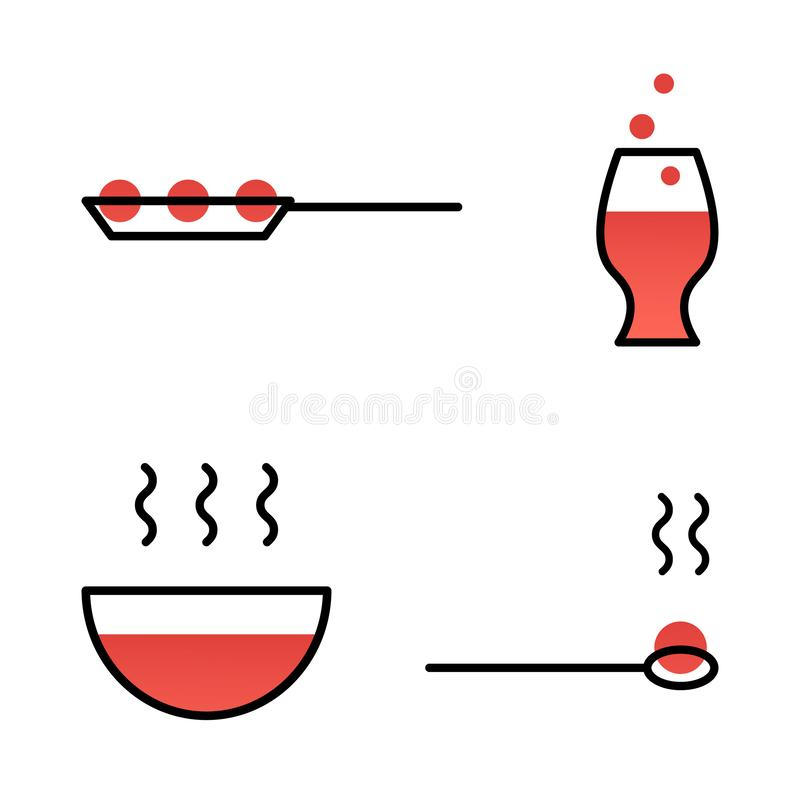 Set of dishes icon line style. Simple symbol of pan, glass, plate, spoon. stock illustration