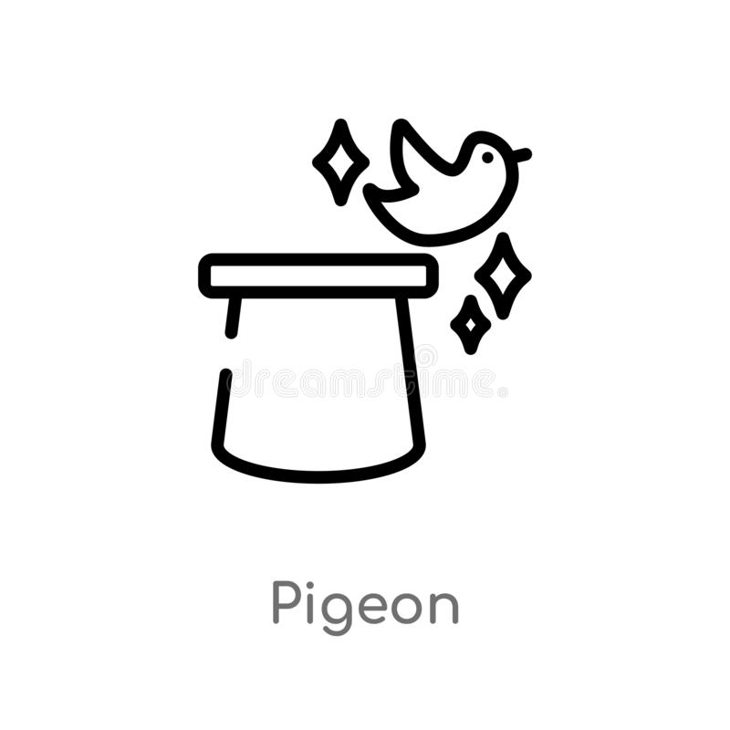 outline pigeon vector icon. isolated black simple line element illustration from magic concept. editable vector stroke pigeon icon royalty free illustration